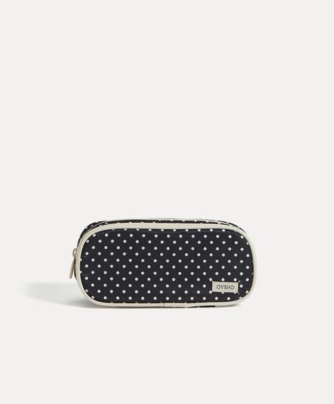 Polka dot double-zip wash case