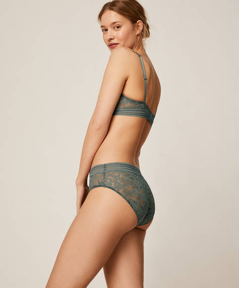 All-over pattern stripe hipster briefs