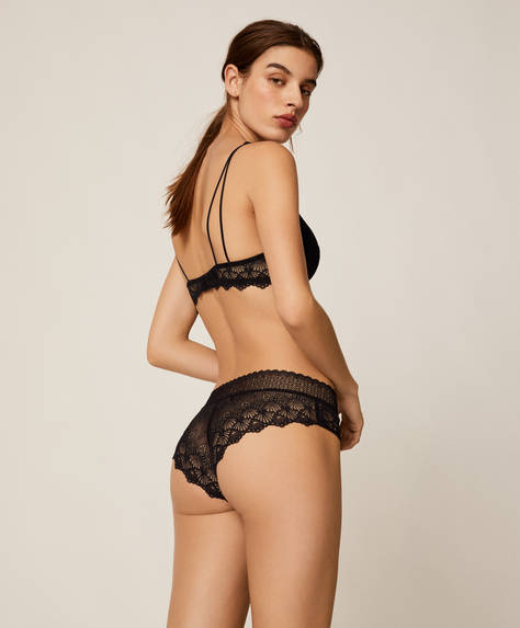 Geometric lace hipster briefs