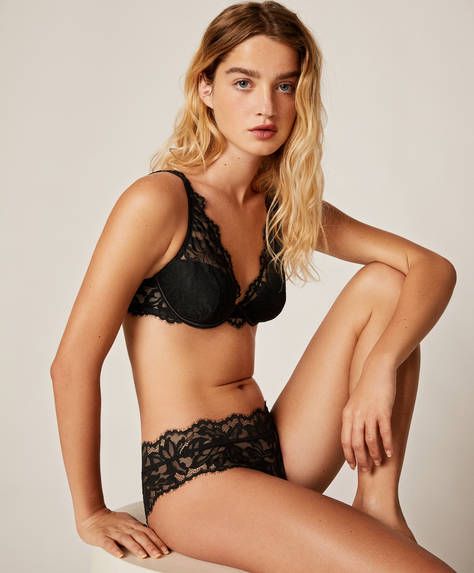 Floral lace hipster briefs