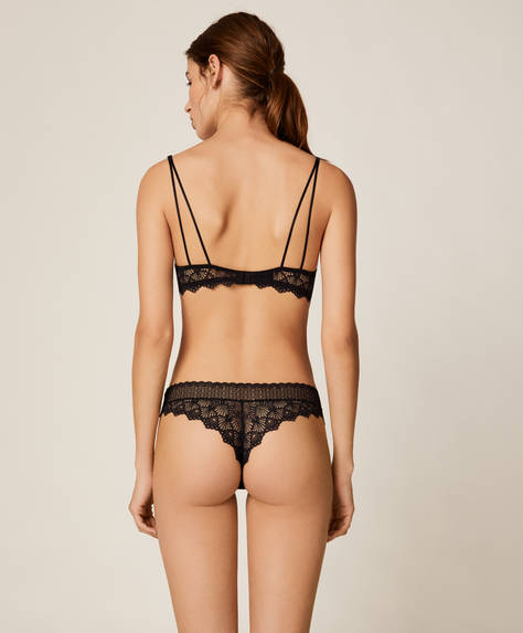 Geometric lace hipster thong