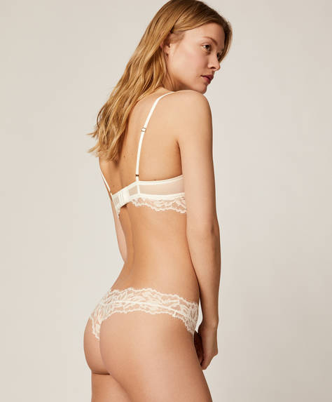 Floral lace hipster thong