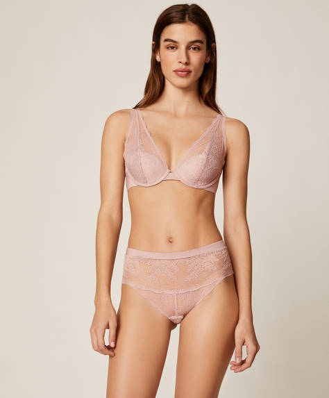 High-waisted lace briefs