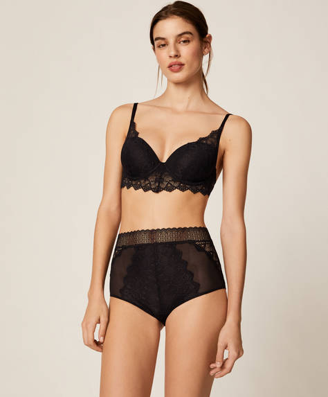 Geometric lace high-rise briefs