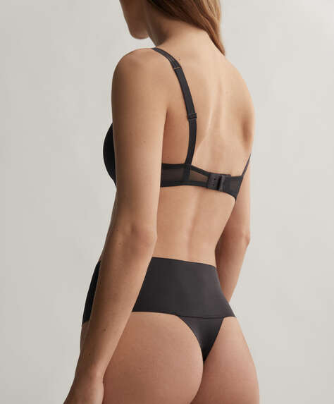 Laser-cut high-waisted thong
