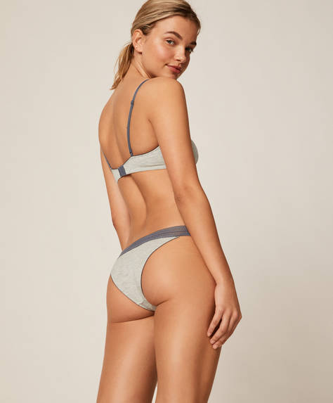 Short lace and modal strappy Brazilian briefs