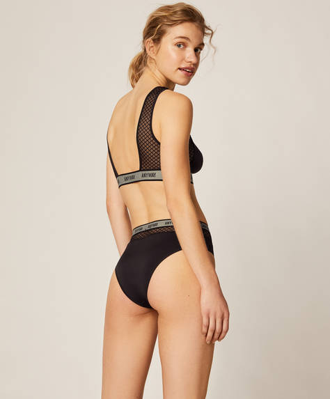 Mesh high-rise Brazilian briefs