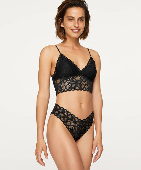 Abstract lace V-cut Brazilian briefs