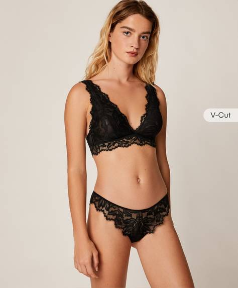 Floral lace high-rise Brazilian briefs