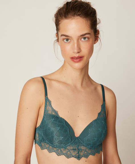 Removable push-up bra in geometric lace