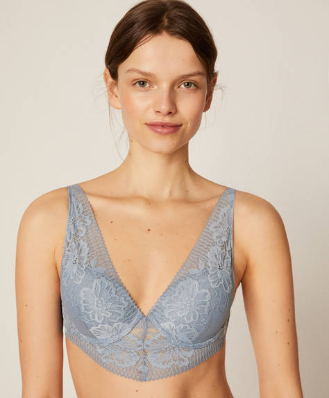 Lightly padded structured lace bra
