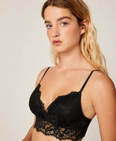 Floral lace triangle bra