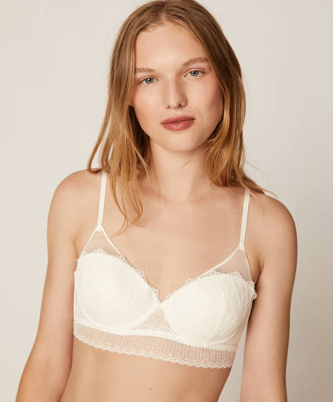 Lightly padded geometric lace bra
