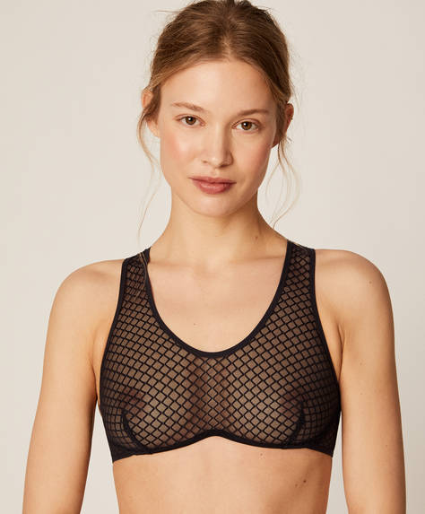 Continuous underwire mesh bra top