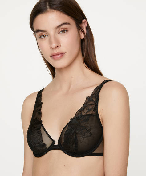 Non-padded underwired bra with floral embroidery