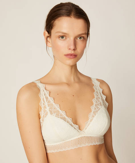 Non-wired geometric lace triangle bra