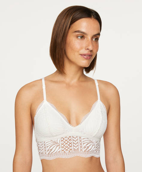 Leaf pattern lace bralette
