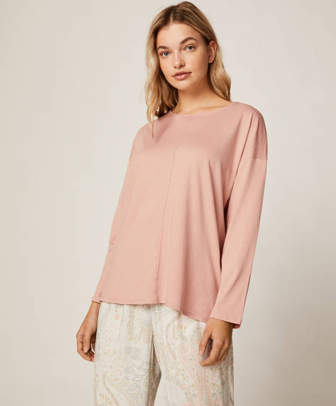 Long T-shirt with round neck