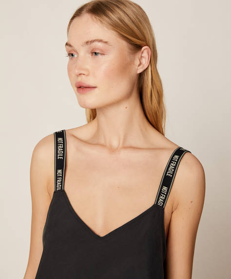 Satin slogan camisole top
