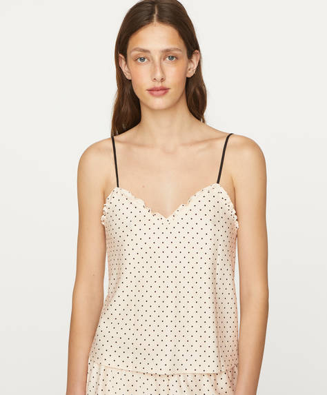 Polka dot slip top