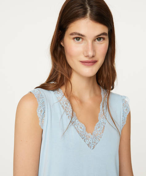 Blue lace-trim T-shirt