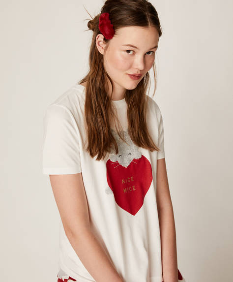 Mouse and heart short T-shirt