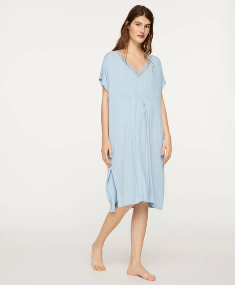 Blue lace-trim nightdress