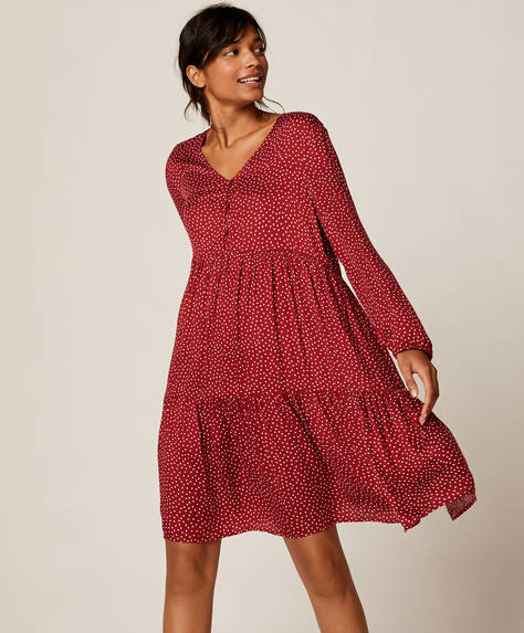 Short red ditsy dot dress