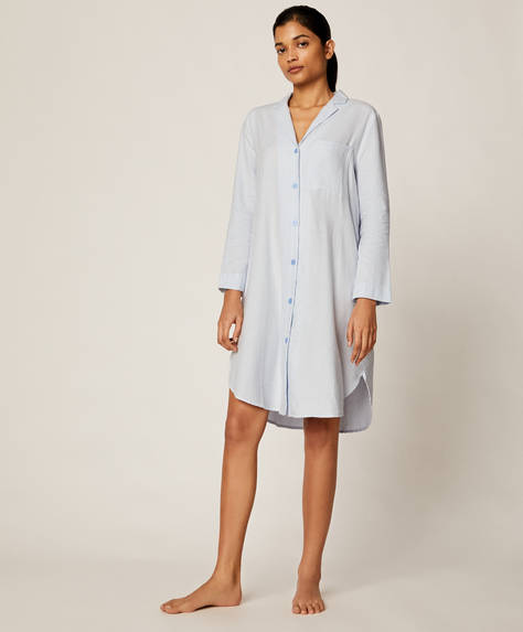 Striped 100% cotton nightdress