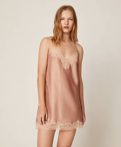 Lace satin nightdress