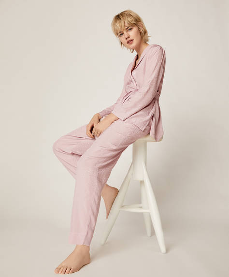 Mauve trousers with ditsy spot print