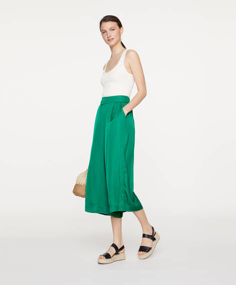 Satin-finish culottes