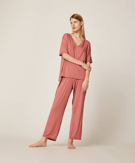 Pink soft-touch trousers