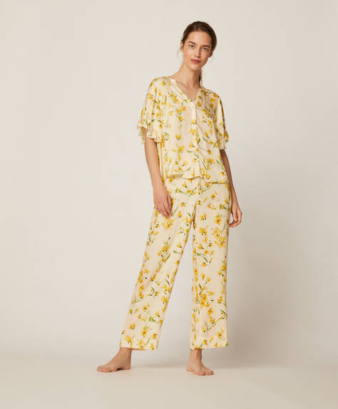 Yellow floral trousers