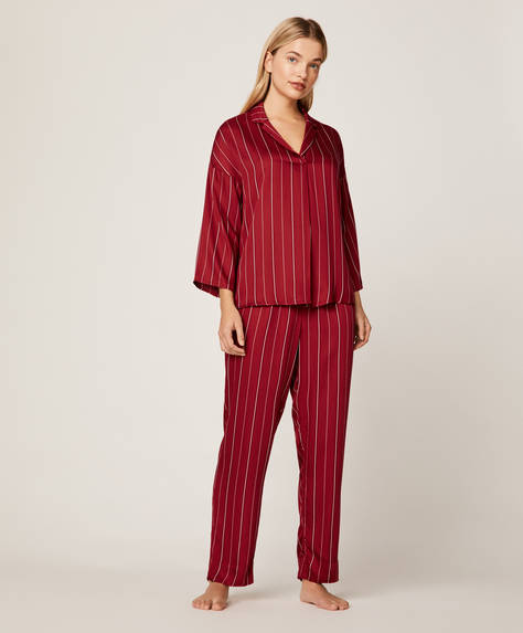 Red pinstripe trousers