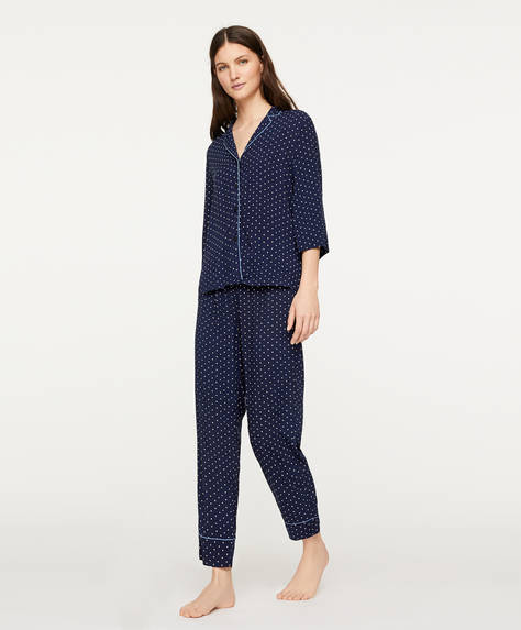 Navy polka dot trousers