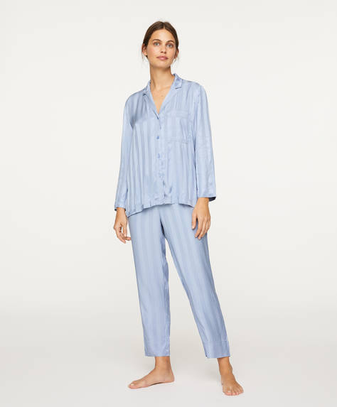 Trousers with blue stripes