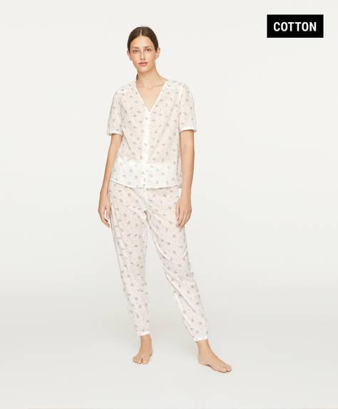 Ecru plumeti floral trousers