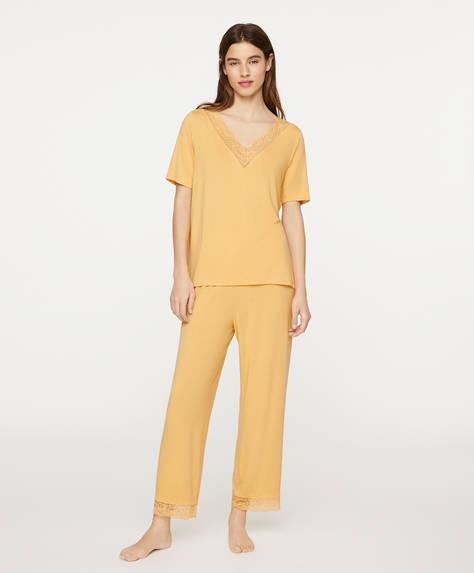 Yellow lace trim trousers