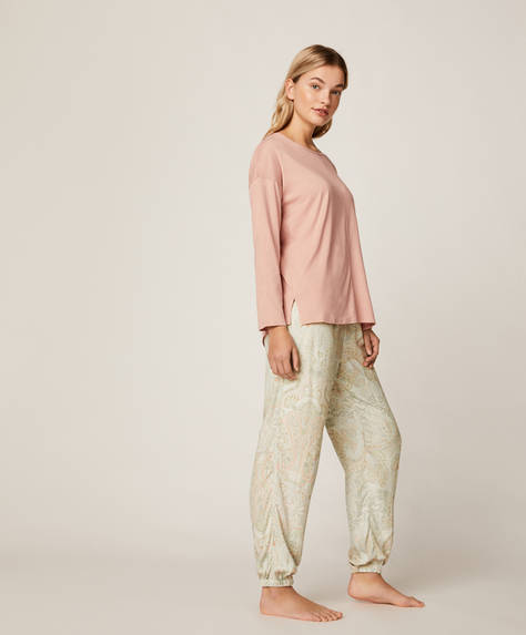 Grey-green paisley trousers