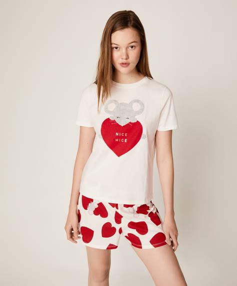 Kalp ve fare desenli şort