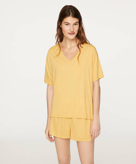 Pantalón tacto suave amarillo