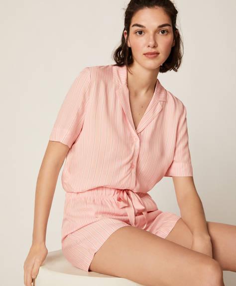 Pantalón corto raya rosa