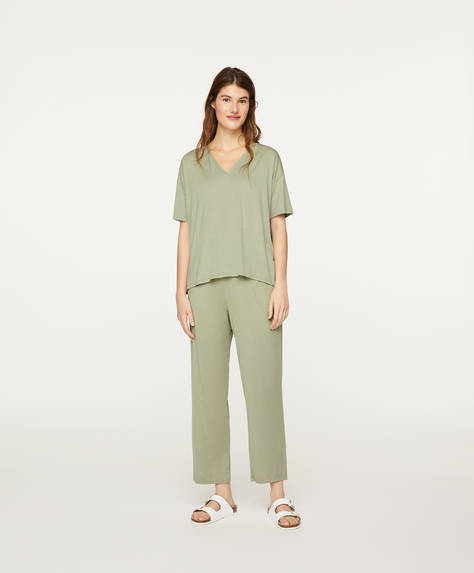 Green soft touch trousers