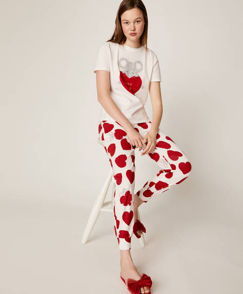Heart and mouse print trousers
