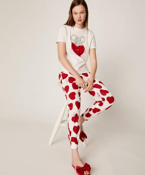 Kalp ve fare desenli pantolon