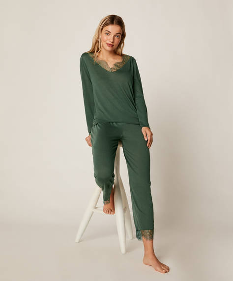 Green lace trousers