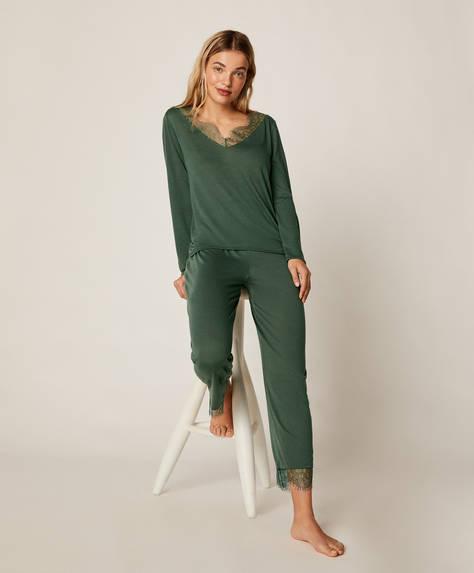 Groene broek met kanten detail