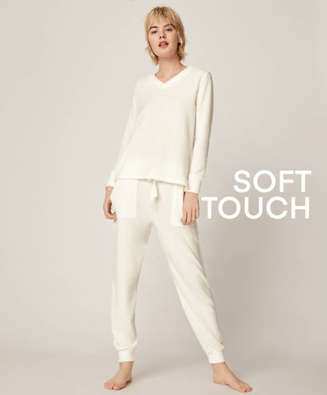 White soft touch trousers