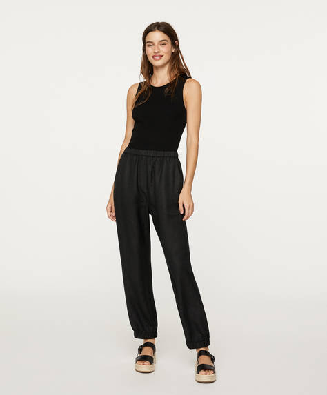 Cuffed linen trousers